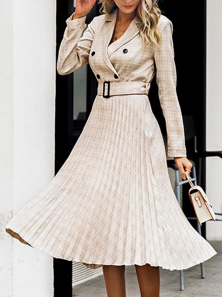 Milanoo Vestidos skater Cuello vuelto Mangas largas Vestido a cuadros retro plisado a cuadros plisado