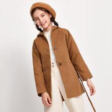 Mantel mit einreihiger Knopfleiste, Guertel und Kapuze