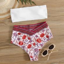 Floral Bandeau High Waisted Bikini Swimsuit