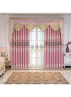 Pink Single Sided Cashmere Embroidered Floral Room Darkening Cotton Curtain Panels