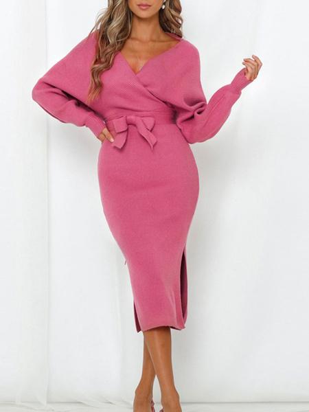 Milanoo Vestidos ajustados sexy Vestido de sueter de punto de manga larga con cuello en V rosa y cordones