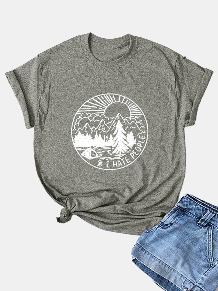 Casual Cartoon Print Short Sleeve Women T-shirt