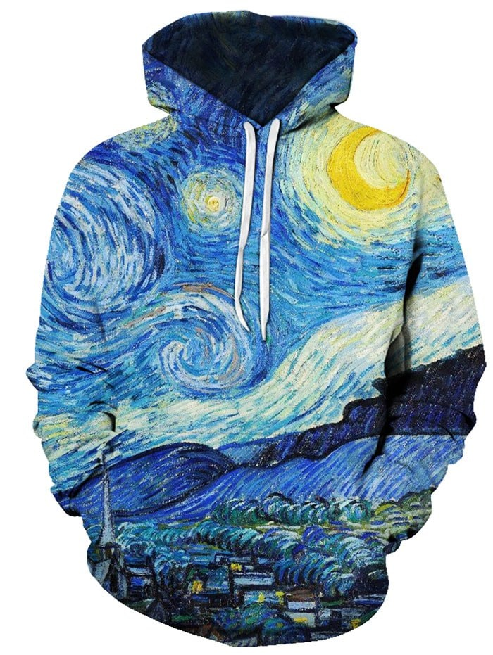 Oil Paint Starry Night Pattern Front Pocket Casual Hoodie