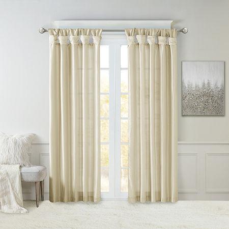 Madison Park Natalie Twisted Tab Light-Filtering Tab-Top Single Curtain Panel, One Size , Beige