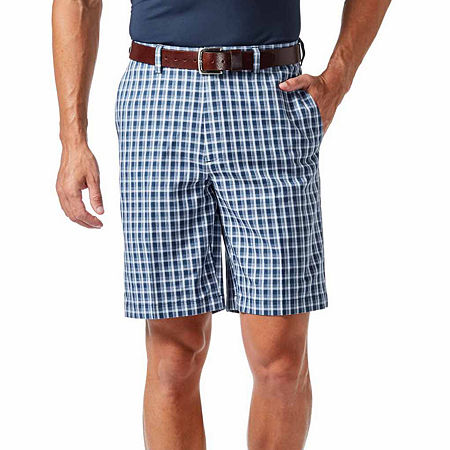 Haggar Cool 18 Pro Pattern Classic Fit Flat Front Short, 38 , Blue