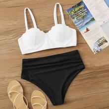 Muschelformiges Buegeloberteil mit gerafftem Bikini mit hoher Taille