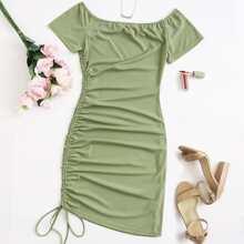 Strick Kleid mit seitlichem Kordelzug und Ruesche