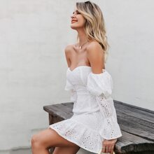 Off Shoulder Ruffle Hem Schiffy A-line Dress