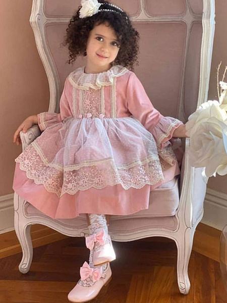 Milanoo Vestido Lolita para niños Vestido de princesa de manga larga con encaje