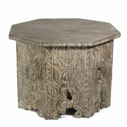 BM209904 Octagon Shape Wooden Side Table with Intricate Carvings