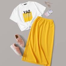 Letter Graphic Top & Slit Side Skirt Set