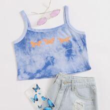Butterfly Print Tie Dye Cami