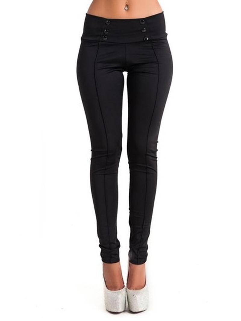 Ericdress Color Block Patchwork Button Low-Waist Skinny Leggings Pants