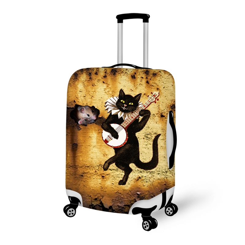 Cute Black Cat Playing Anti-Scratch Travel Luggage Cover Suitcase Protector 19