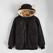 Boys Pocket Patched Contrast Faux Shearling Ears Hooded Puffer Coat