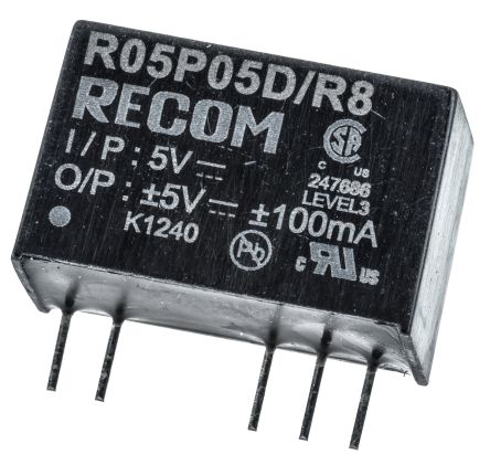 Recom 1W Isolated DC-DC Converter Through Hole, Voltage in 4.5 → 5.5 V dc, Voltage out ±5V dc