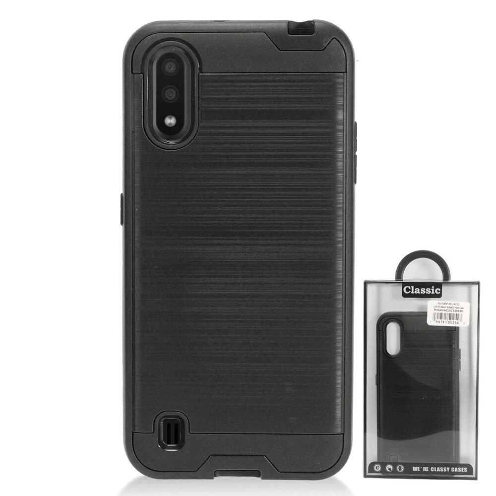 Insten Hard Hybrid Brushed TPU Cover Case For Samsung Galaxy A01 - Black (Black)