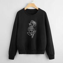 Sweatshirt mit Blumen Muster und Rundhalsausschnitt