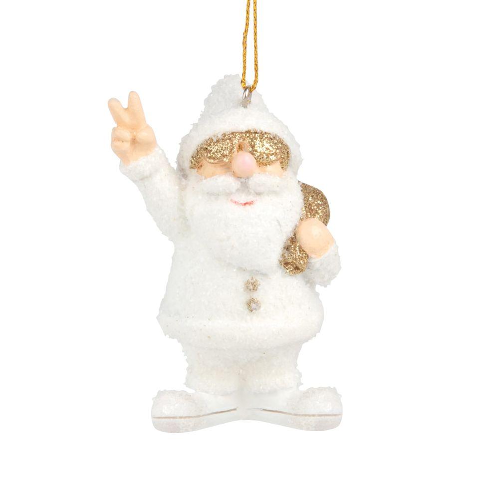 Weihnachtliche Haengedeko, Weihnachtsmann, weiss und goldfarben