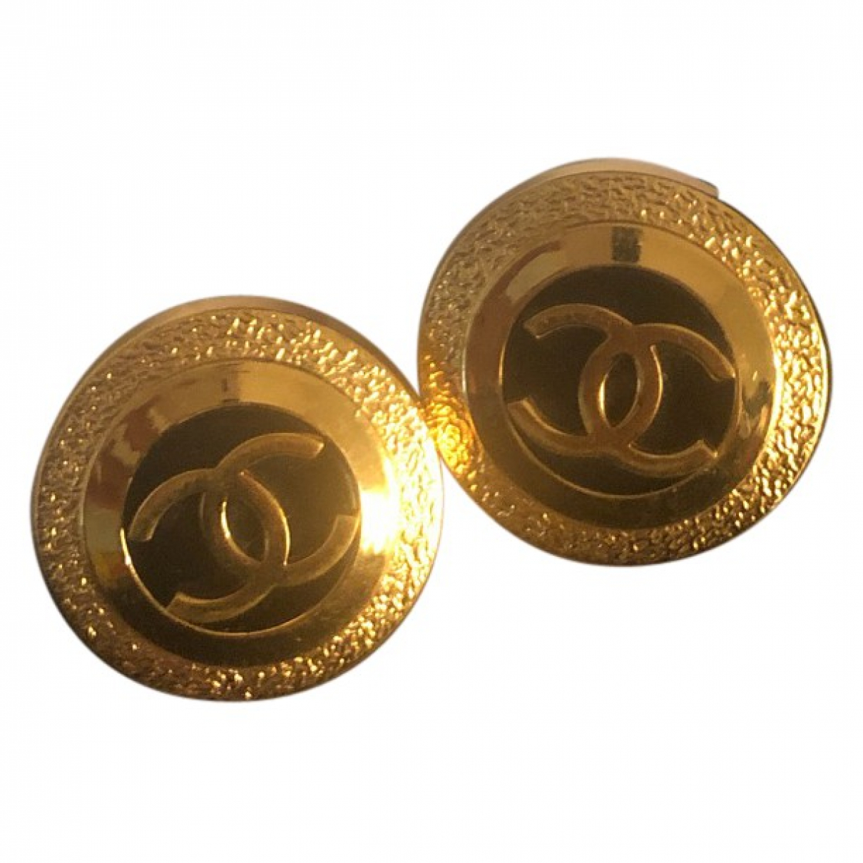 Chanel - Boucles doreilles CC pour femme en metal - dore