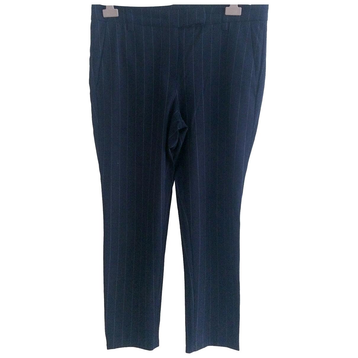 Brunello Cucinelli \N Blue Wool Trousers for Women 46 IT