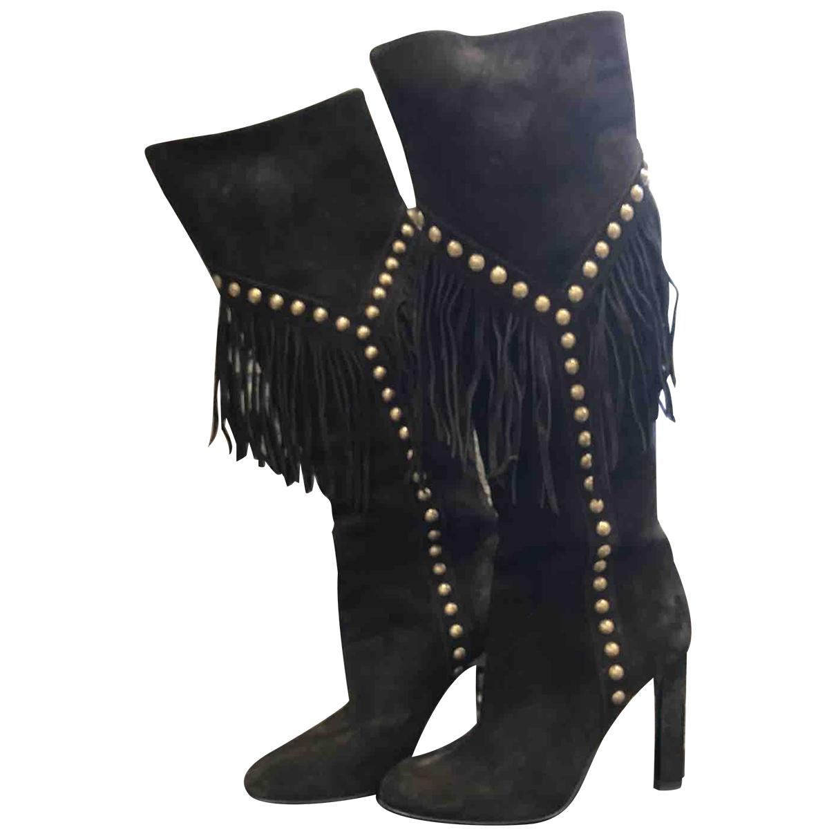 Saint Laurent \N Black Suede Boots for Women 36 EU