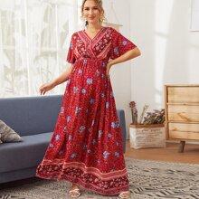 Maternity Maxi Kleid mit Stamm & Blumen Muster und V Kragen