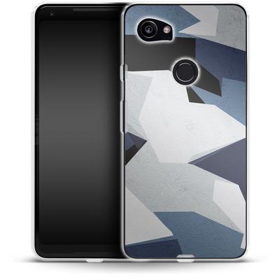 Google Pixel 2 XL Silikon Handyhuelle - Geometric Camo Blue von caseable Designs