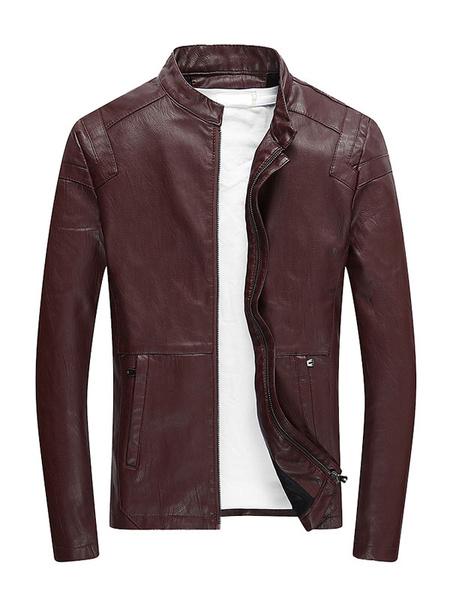 Milanoo Burgundy Biker Jacket Stand Collar Zipper Long Sleeve Pu Men Leather Jacket