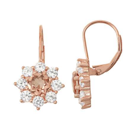 Simulated Morganite & Lab Created White Sapphire 14K Rose Gold Over Silver Earrings, One Size , No Color Family
