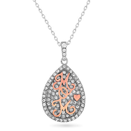 Womens White Crystal 18K Rose Gold Over Silver Sterling Silver Pear Pendant Necklace, One Size , No Color Family