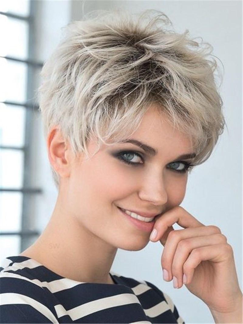 Ericdress Boy Cut Short Pixie Cut Human Hair Full Lace Wigs 8Inch