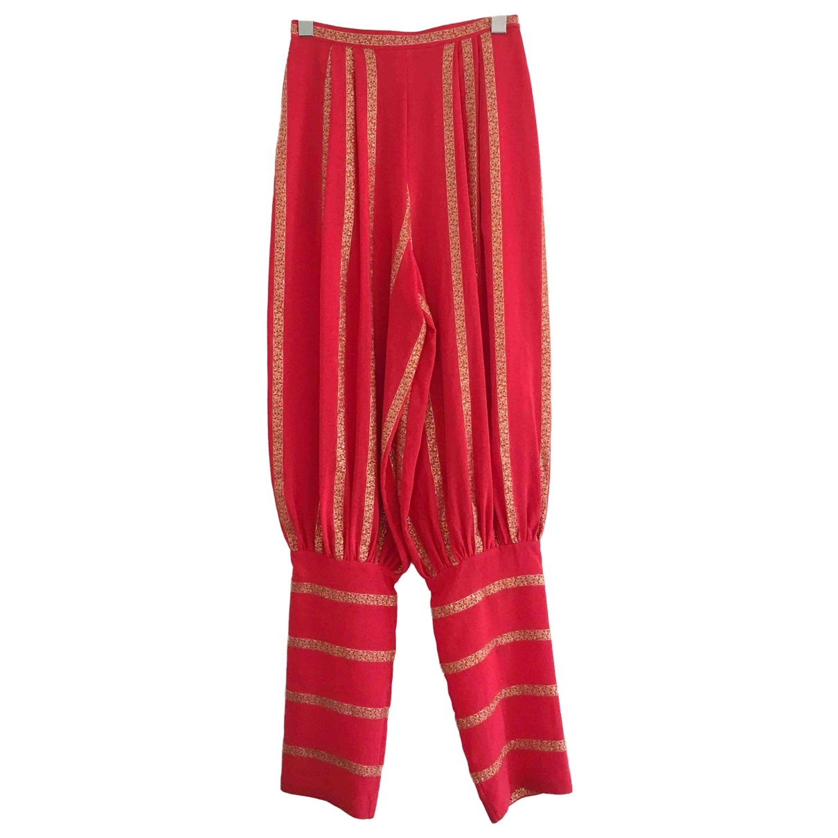 Non Signé / Unsigned Hippie Chic Red Silk Trousers for Women 38 FR