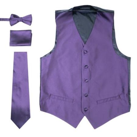 Mens 4PC Big and Tall Vest & Tie & Bow Tie and Hankie Solid Purple