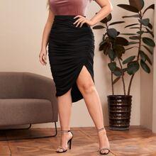 Falda bajo asimetrico con diseño de fruncido - grande