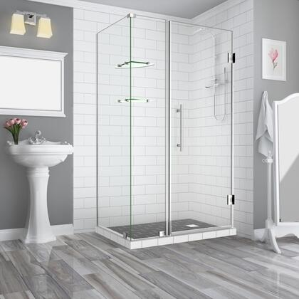 SEN962EZ-SS-473338-10 Bromleygs 46.25 To 47.25 X 38.375 X 72 Frameless Corner Hinged Shower Enclosure With Glass Shelves In Stainless