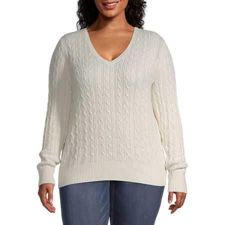 St. John's Bay-Plus Cable Womens V Neck Long Sleeve Pullover Sweater, 2x , White