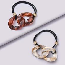 2pcs Acrylic Chain Detail Hair Tie