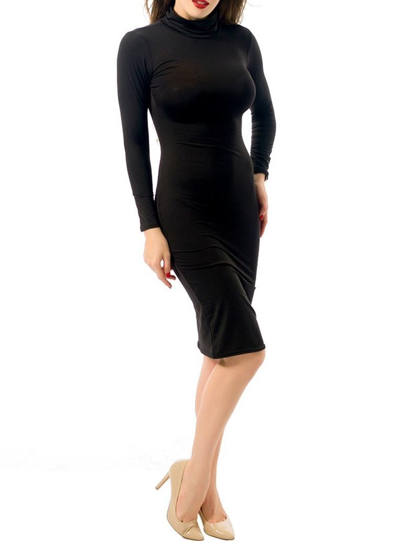 Ericdress Turtleneck Long Sleeve Mid-Calf Sexy Sheath Dress