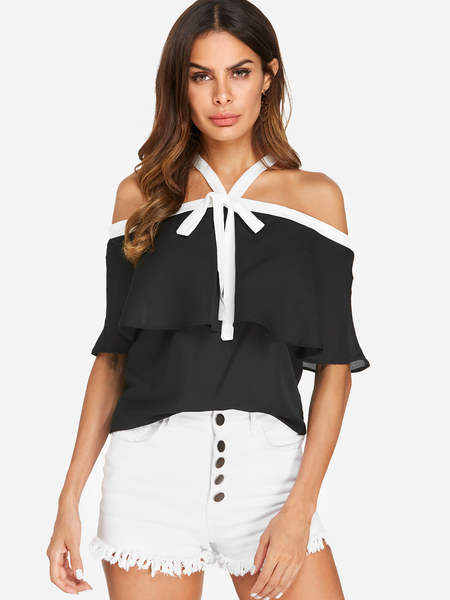 Yoins Black Bowknot Off Shoulder Fashion Blouses