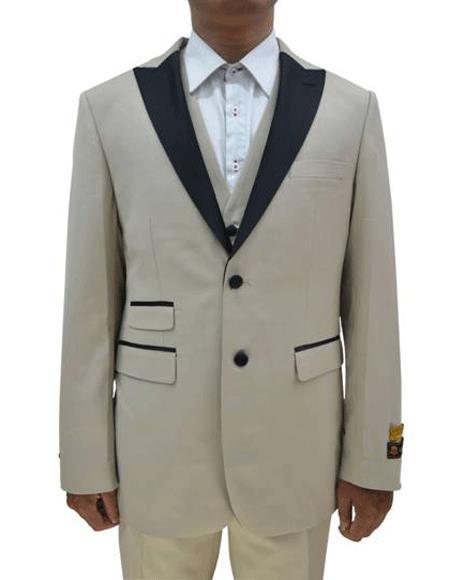 2 Button  Tuxedo Ticket Pocket  3 Pieces Flat Front Pants Tan