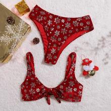 Samt Bikini Badeanzug mit Schneeflocke Muster und Knoten vorn