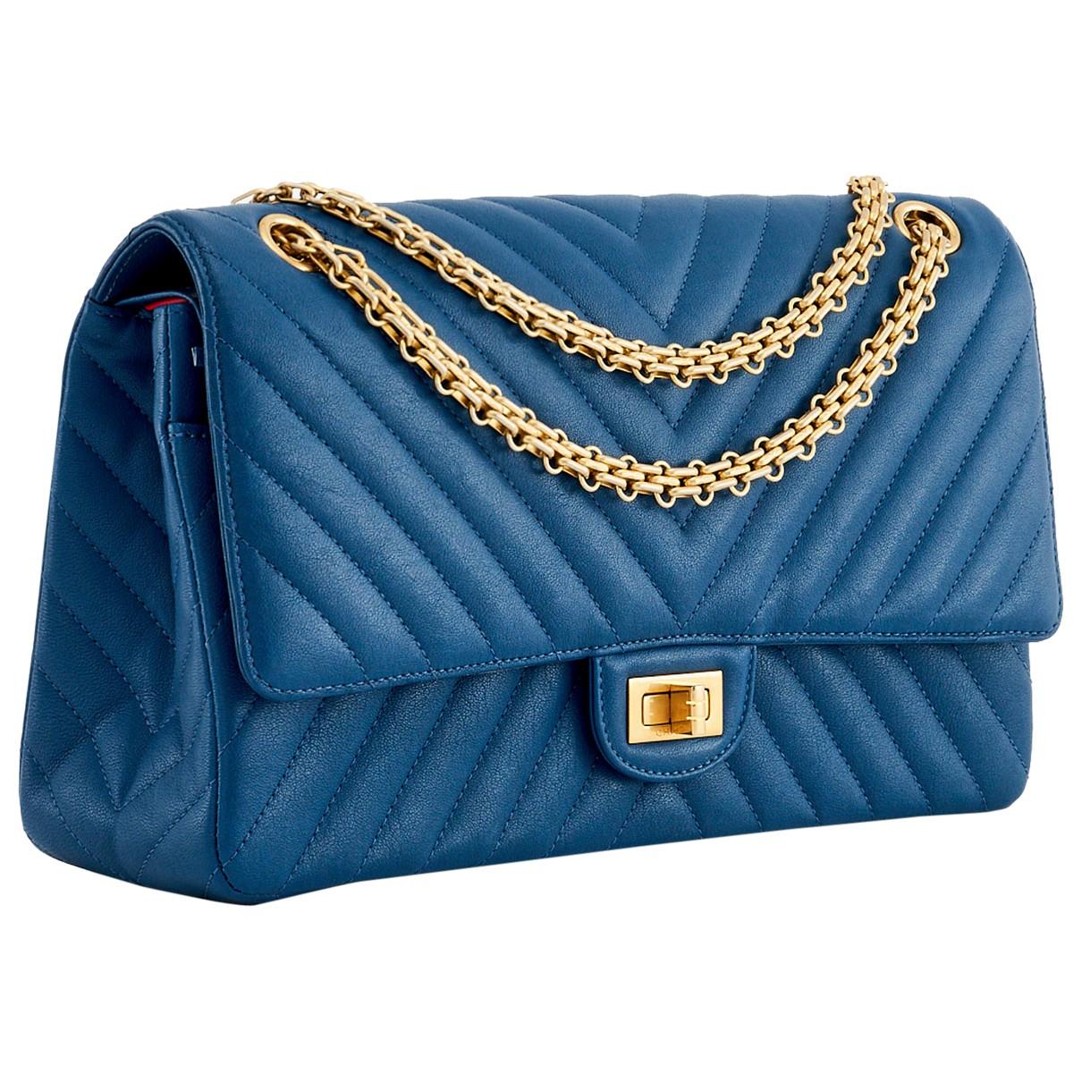 Chanel - Sac a main 2.55 pour femme en cuir - bleu