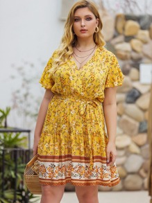 Plus Surplice Front Belted Ditsy Floral Print Dress
