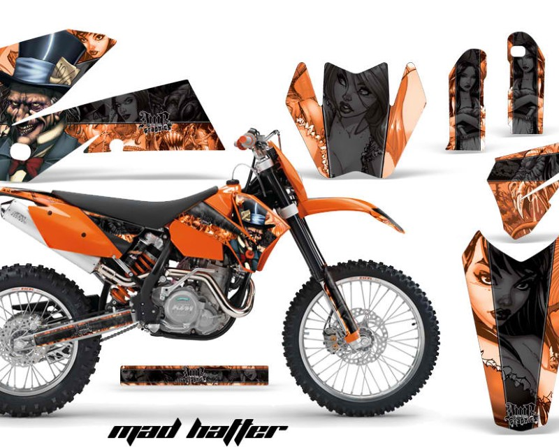 AMR Racing Dirt Bike Decal Graphic Kit Wrap For KTM EXC/SX/MXC?/SMR/XCF-W 2005-2007áHATTER BLACK ORANGE