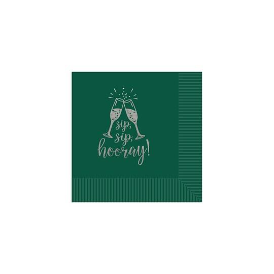 100 Pack of Gartner Studios® Personalized Sip Sip Hooray Foil Coined Wedding Napkin in Hunter   4.75