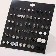 30 pares pendientes de tachuela con diseño de perla artificial en forma de letra y flecha