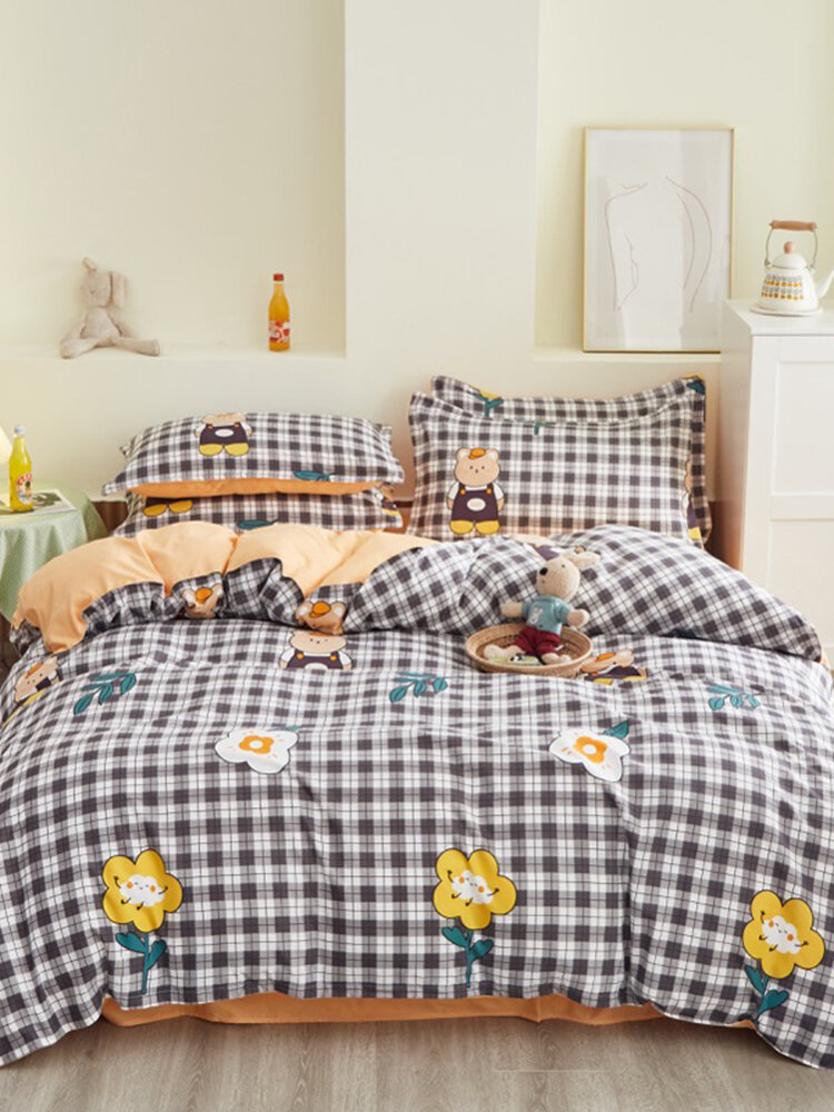 3/4 Pcs Plaid Flower Double-Sided Aloe Cotton Bedding Skin-Friendly Printed Sheet Quilt Cover Pillowcase