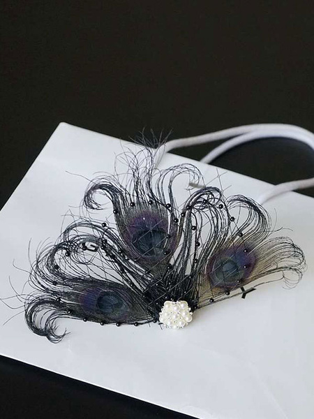 Milanoo Flapper Dress Accessories 1920s Great Gatsby Accessory White Net Pearls Feather Pearl Flapper Headpieces Halloween