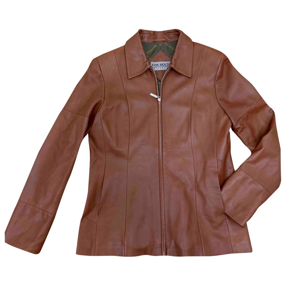 - Blouson   pour femme en cuir - marron